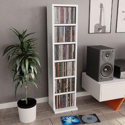 vidaXL Szafka na CD, biała, 21x16x88 cm, płyta wiórowa