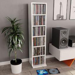 vidaXL Szafka na CD, wysoki połysk, biała, 21x16x88 cm, płyta wiórowa