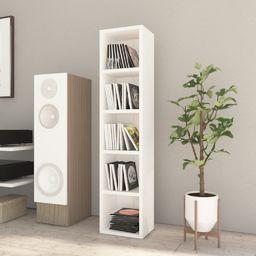 vidaXL Szafka na płyty CD, wysoki połysk, biała, 21x16x93,5 cm