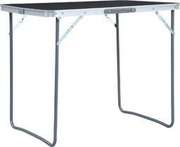 vidaXL Składany stolik turystyczny z metalową ramą, 80x60 cm, szary