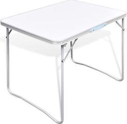 vidaXL Składany stół kempingowy z metalową ramą 80 x 60 cm
