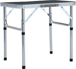 vidaXL Składany stolik turystyczny, szary, aluminiowy, 60x45 cm