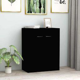 vidaXL Szafka, czarna, 60 x 30 x 75 cm, płyta wiórowa