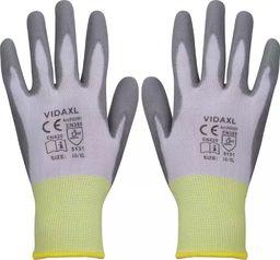 vidaXL rękawice robocze powlekane PU 24 pary biało-szare rozmiar 10/XL (131380)