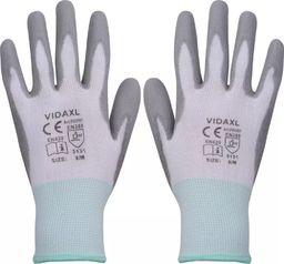 vidaXL rękawice robocze powlekane PU 24 pary biało-szare rozmiar 8/M (131378)