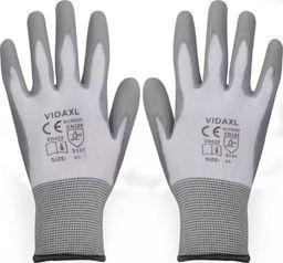 vidaXL rękawice robocze powlekane PU 24 pary biało-szare rozmiar 9/L (131379)