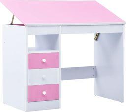 vidaXL Biurko dla dzieci z odchylanym blatem, różowo-białe