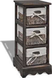 vidaXL Drewniana szafka z 3 koszykami, brązowa