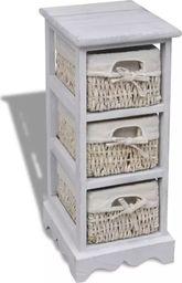vidaXL Drewniana szafka z 3 wyplatanymi koszykami, biała