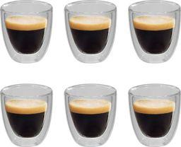 vidaXL Dwuścienne filiżanki termiczne na espresso, 6 szt., 80 ml