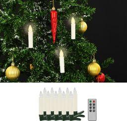 Lampki choinkowe vidaXL Świece LED, bezprzewodowe, z pilotem, 10 szt., ciepła biel