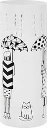 vidaXL Stojak na parasole, wzór z kobietami i kotem, stalowy, biały