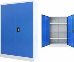 vidaXL Szafa biurowa, metalowa, 90 x 40 x 140 cm, szaro-niebieska