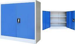 vidaXL Szafa biurowa, metalowa, 90 x 40 x 90 cm, szaro-niebieska