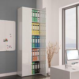 vidaXL Szafa biurowa, wysoki połysk biała, 60x32x190 cm, płyta wiórowa
