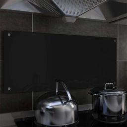 vidaXL Panel ochronny do kuchni, czarny, 90x40 cm, szkło hartowane