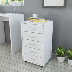 vidaXL Szafka biurowa z kółkami i 5 szufladami, w kolorze białym