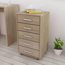 vidaXL Szafka biurowa z kółkami i 5 szufladami, w kolorze dąb