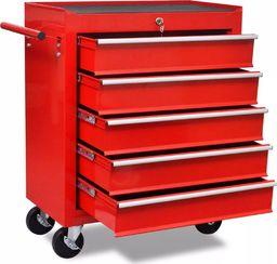 Wózek narzędziowy vidaXL Wózek narzędziowy/warsztatowy z 5 szufladami, czerwony