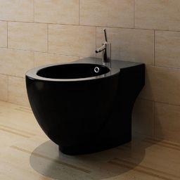 Bidet vidaXL Bidet okrągły stojący wysokiej jakości ceramika czarny