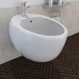Bidet vidaXL Bidet ścienny, biały, ceramiczny