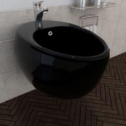 Bidet vidaXL Bidet ścienny, czarny, ceramiczny