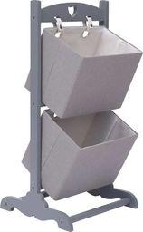 vidaXL 2-poziomowy regał z koszami, ciemnoszary 35x35x72 cm, drewniany