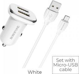 Ładowarka Borofone Borofone - ładowarka samochodowa 2x USB kabel micro USB w zestawie, biały