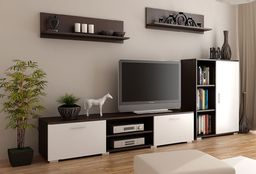 Elior Komplet mebli RTV Pixelo 6X - biały + wenge