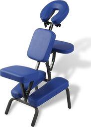 vidaXL Składany, przenośny fotel do masażu, niebieski