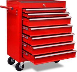 Wózek narzędziowy vidaXL Czerwony wózek narzędziowy/warsztatowy z 7 szufladami