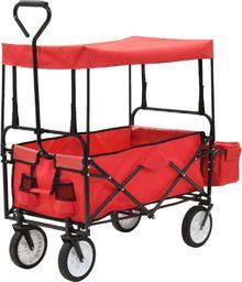 vidaXL Składany wózek ręczny z daszkiem, stalowy, czerwony