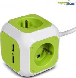 GreenBlue MagicCube poczwórne gniazdko prądowe, 2 wejścia usb 1,4m GreenBlue GB118G wersja niemiecka