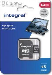 Karta Integral MicroSDXC INTEGRAL 64GB + ADAPTER CLASS 10 UHS-I Cards Ultima Pro - UHS-1 90 MB/s transfer INMSDX64G-100v30