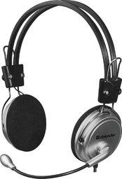 Słuchawki z mikrofonem Defender Słuchawki z mikrofonem Defender AURA 120 srebrno-czarne kabel 3m
