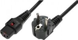 Kabel zasilający Assmann Kabel ASSMANN zasilający blokada IEC LOCK 3x1mm2 Schuko kątowy/C13 prosty M/Ż 5m czarny