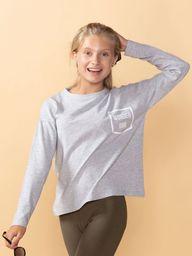 TXM TXM Bluzka dziewczęca z długim rękawem 146 SZARY MELANŻOWY