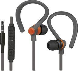Słuchawki Defender Słuchawki z mikrofonem Defender OUTFIT W760 SPORT douszne szaro-pomarańczowe