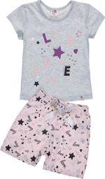 TXM TXM Piżama dziewczęca krótki rękaw, z nadrukiem 116 JASNY SZARY MELANŻOWY
