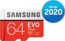 Karta Samsung Evo Plus MicroSDXC 64 GB Class 10 UHS-I/U1  (MB-MC64HA/EU)