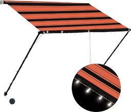 vidaXL Zwijana markiza z LED, 100x150 cm, pomarańczowo-brązowa
