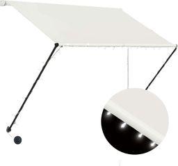 vidaXL Markiza zwijana z LED, 150 x 150 cm, kremowa