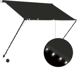 vidaXL Markiza zwijana z LED, 150 x 150 cm, antracytowa