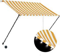 vidaXL Markiza zwijana z LED, 150 x 150 cm, żółto-biała