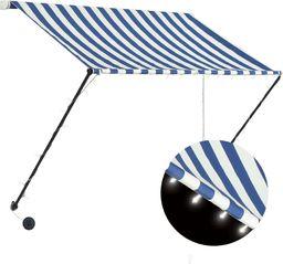 vidaXL Markiza zwijana z LED, 150 x 150 cm, niebiesko-biała