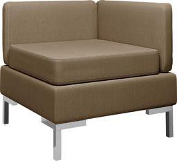 vidaXL Moduł sofy narożnej z poduszką, tkanina, brązowy