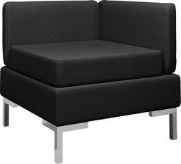 vidaXL Moduł sofy narożnej z poduszką, tkanina, czarny