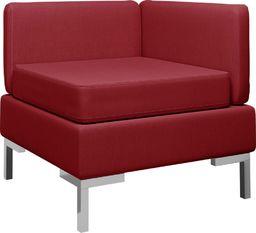 vidaXL Moduł sofy narożnej z poduszką, tkanina, czerwone wino