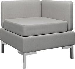 vidaXL Moduł sofy narożnej z poduszką, tkanina, jasnoszary