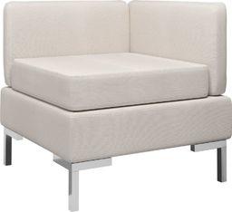vidaXL Moduł sofy narożnej z poduszką, tkanina, kremowy